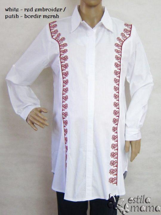R25146 gb1 baju hamil menyusui lgn pjg putih-bordir merah