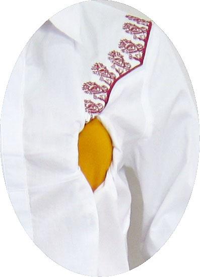 R25146 gb2 baju hamil menyusui lgn pjg putih-bordir merah