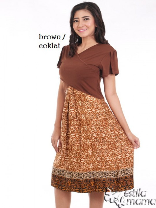 R34124 coklat gb1 dress hamil menyusui lgn pdk