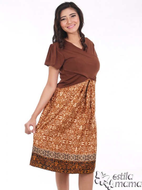 R34124 coklat gb2 dress hamil menyusui lgn pdk