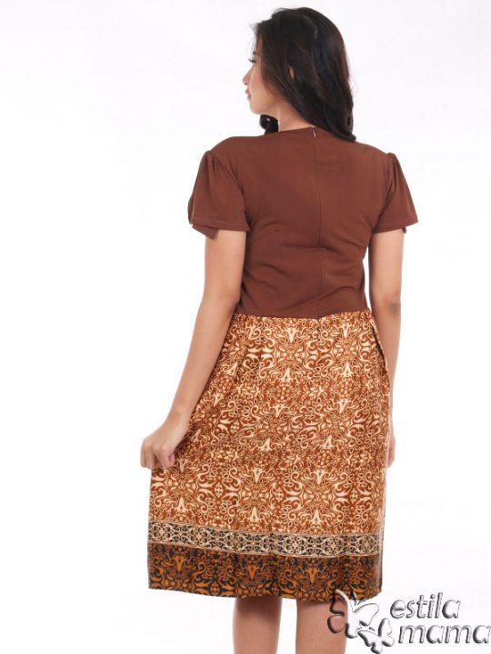 R34124 coklat gb4 dress hamil menyusui lgn pdk