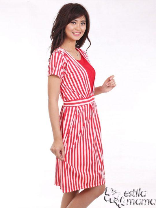R34161 salur merah gb2 dress hamil menyusui lgn pdk