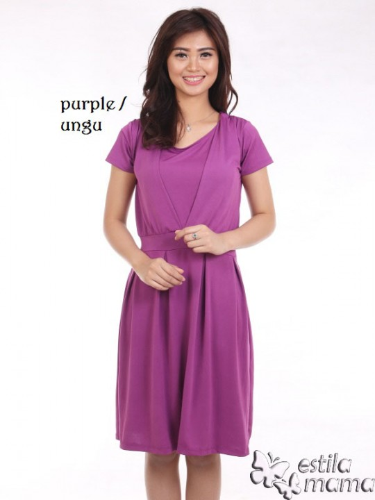 R34161 ungu gb1 dress hamil menyusui lgn pdk