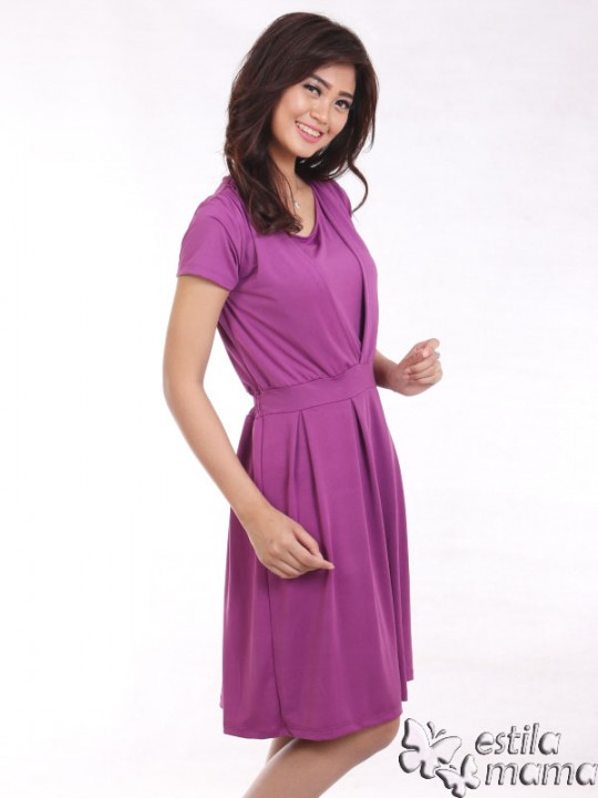 R34161 ungu gb2 dress hamil menyusui lgn pdk