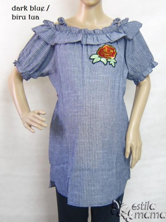 R24148 gb5 baju hamil menyusui lgn pdk biru tua