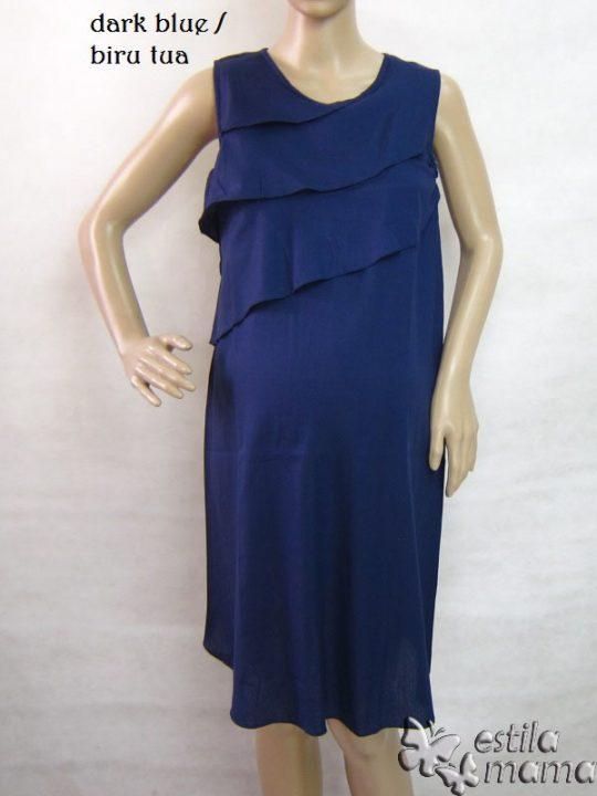 R3317 gb7 dress hamil menyusui tnp lgn biru tua