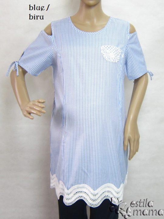 R24151 gb5 baju hamil menyusui lgn pdk biru