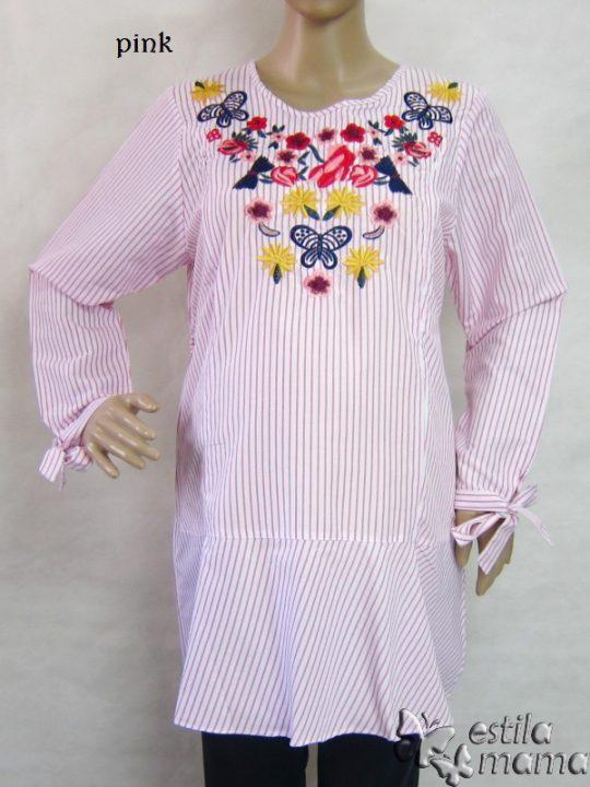R25149 gb1 baju hamil menyusui lgn pjg pink