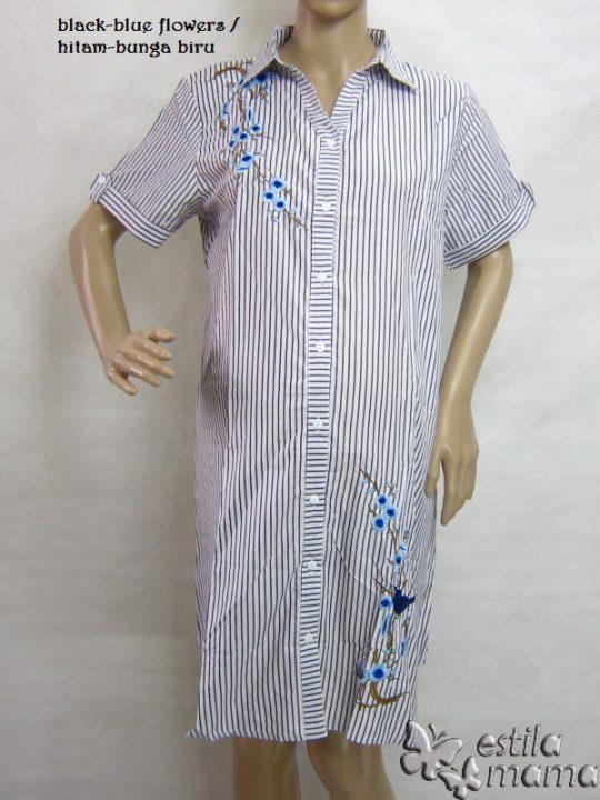 M36158 gb8 dress hamil lgn pdk hitam-bunga biru