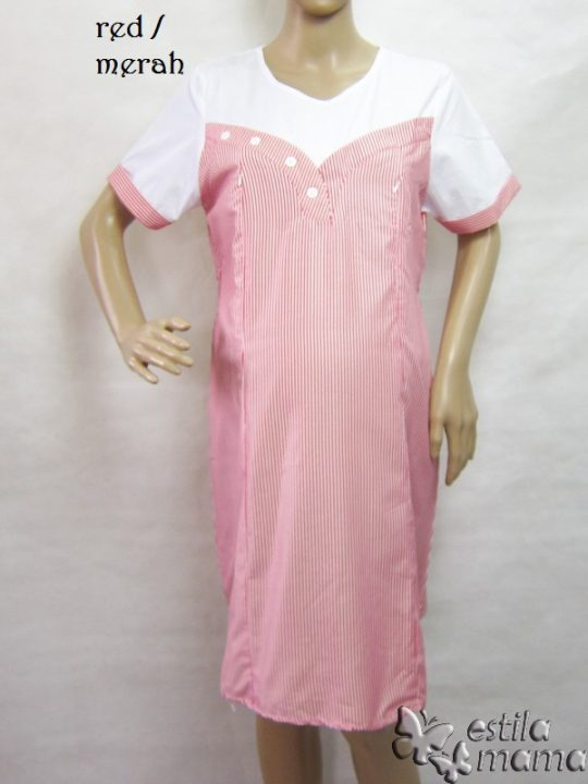R34183 gb6 dress hamil menyusui lgn pdk merah