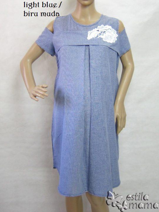 R34185 gb5 dress hamil menyusui lgn pdk biru muda