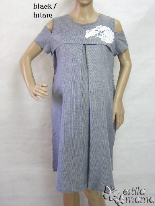 R34185 gb7 dress hamil menyusui lgn pdk hitam