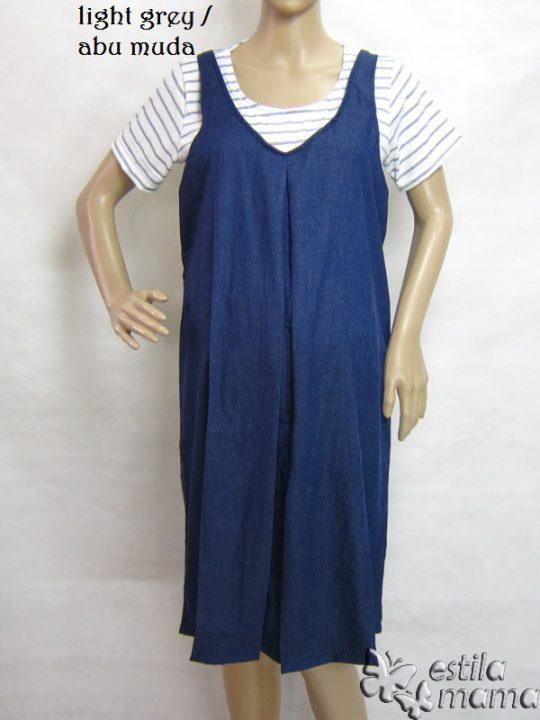 R34189 gb1 dress hamil menyusui lgn pdk abu muda