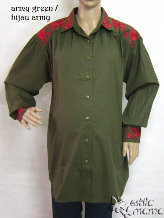 M25228 gb6 baju hamil lgn pjg hijau army