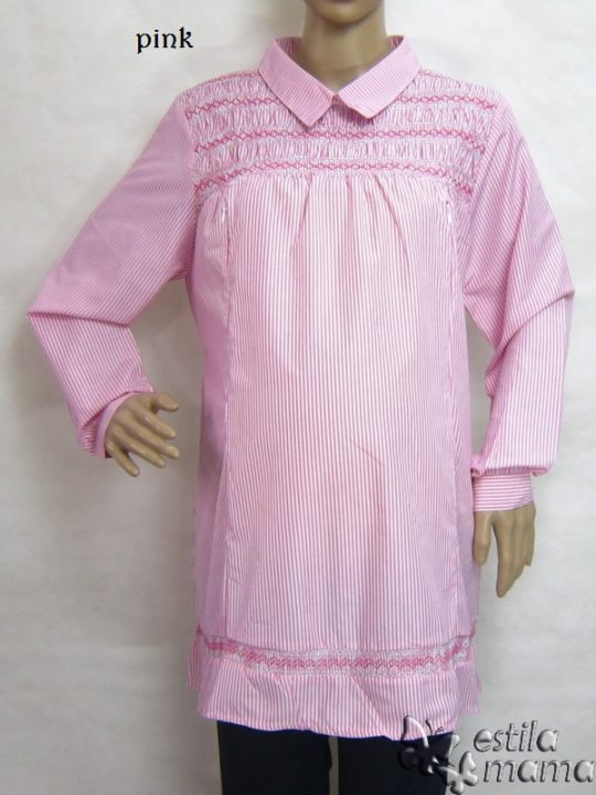 R25152 gb1 baju hamil menyusui lgn pjg pink