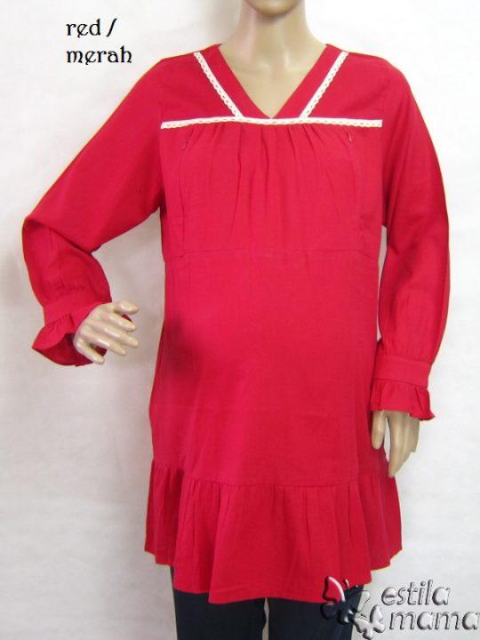 R25153 gb1 baju hamil menyusui lgn pjg merah