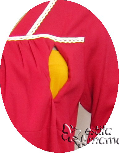 R25153 gb2 baju hamil menyusui lgn pjg merah