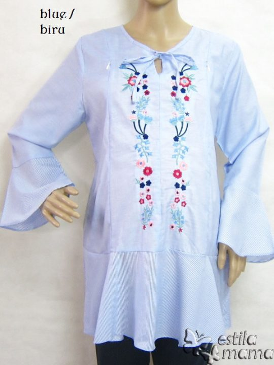 R25154 gb1 baju hamil menyusui lgn pjg biru