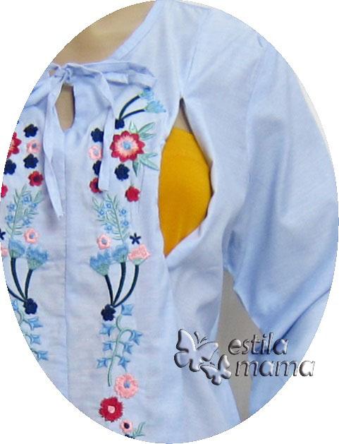 R25154 gb2 baju hamil menyusui lgn pjg biru