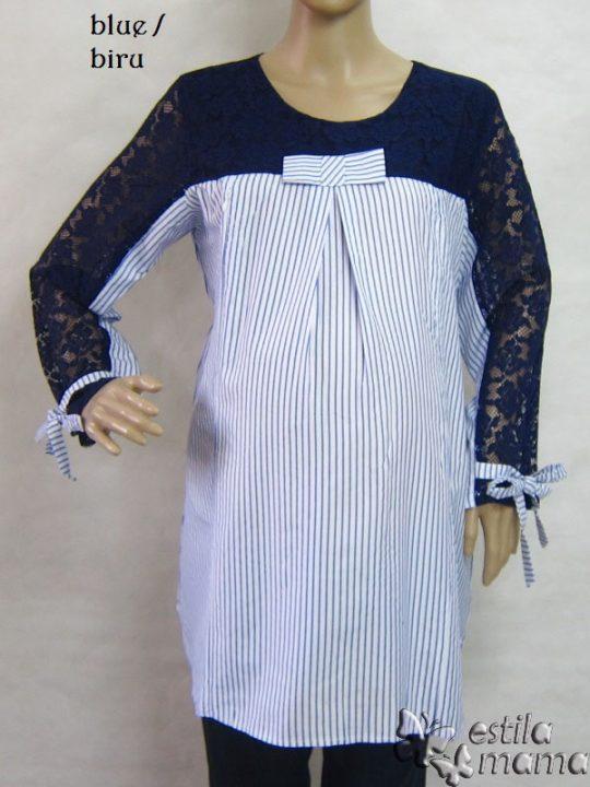 R25155 gb1 baju hamil menyusui lgn pjg biru