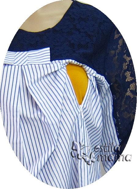 R25155 gb2 baju hamil menyusui lgn pjg biru
