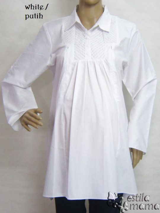 R25157 gb1 baju hamil menyusui lgn pjg putih