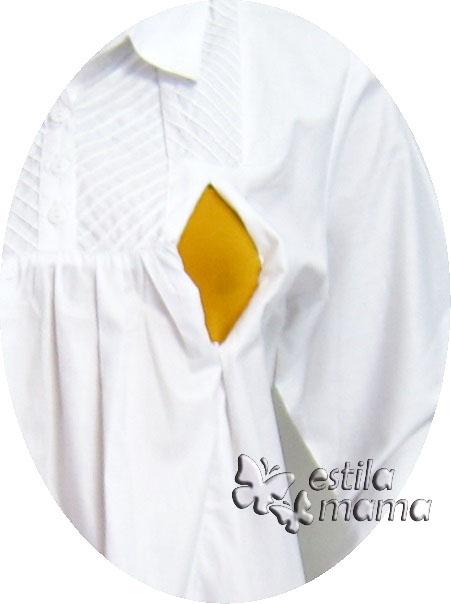 R25157 gb2 baju hamil menyusui lgn pjg putih
