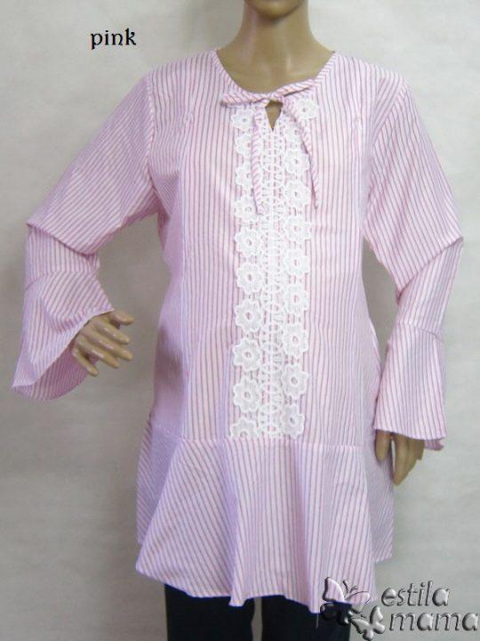 R25158 gb1 baju hamil menyusui lgn pjg pink