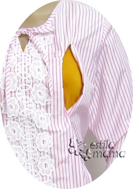R25158 gb2 baju hamil menyusui lgn pjg pink