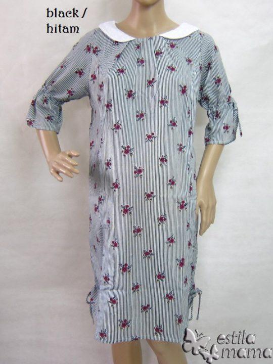 R34194 gb7 dress hamil menyusui lgn pdk hitam