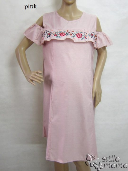 R34196 gb1 dress hamil menyusui lgn pdk pink