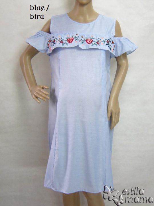 R34196 gb5 dress hamil menyusui lgn pdk biru