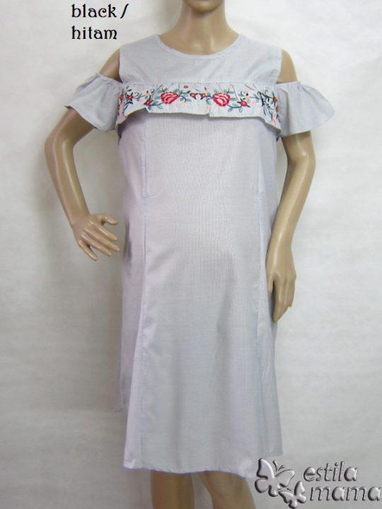 R34196 gb6 dress hamil menyusui lgn pdk hitam
