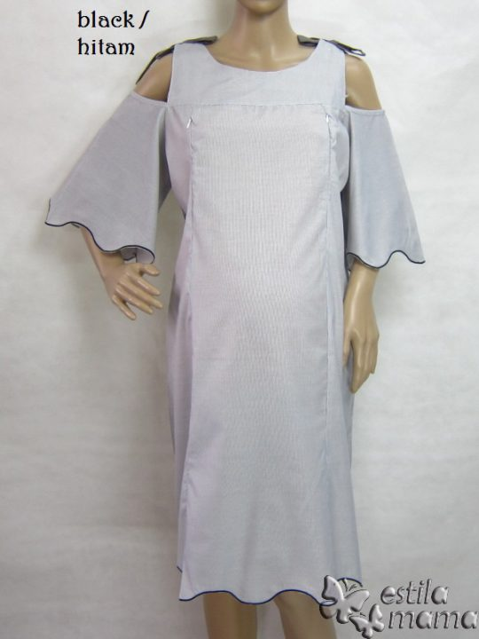 R34197 gb1 dress hamil menyusui lgn pdk hitam
