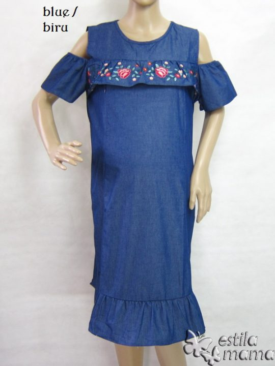 R34198 gb1 dress hamil menyusui lgn pdk biru