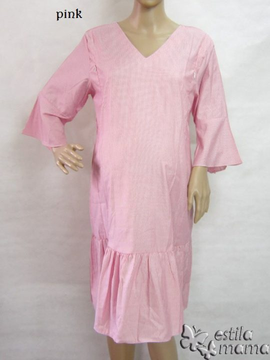R34207 gb1 dress hamil menyusui lgn pdk pink