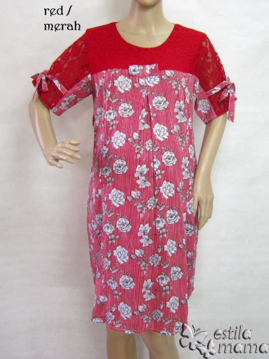R34208 gb1 dress hamil menyusui lgn pdk merah