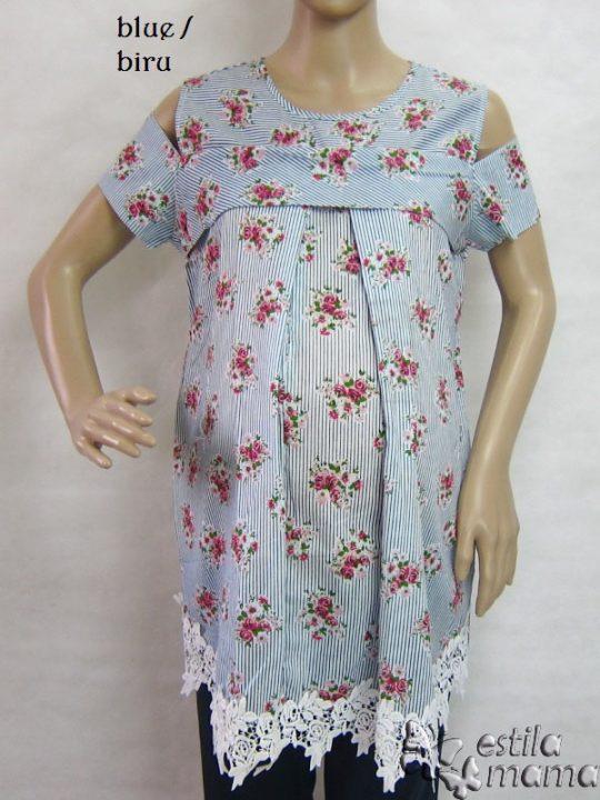 R24158 gb7 baju hamil menyusui lgn pdk biru