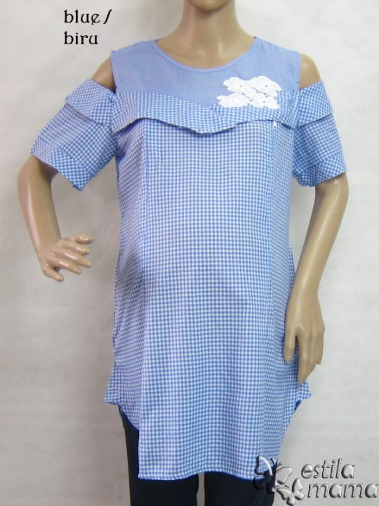 R24159 gb1 baju hamil menyusui lgn pdk biru