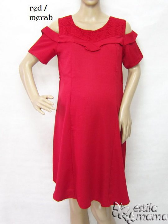 R34214 gb1 dress hamil menyusui lgn pdk merah
