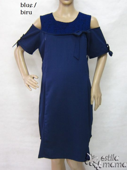 R34218 gb1 dress hamil menyusui lgn pdk biru tua