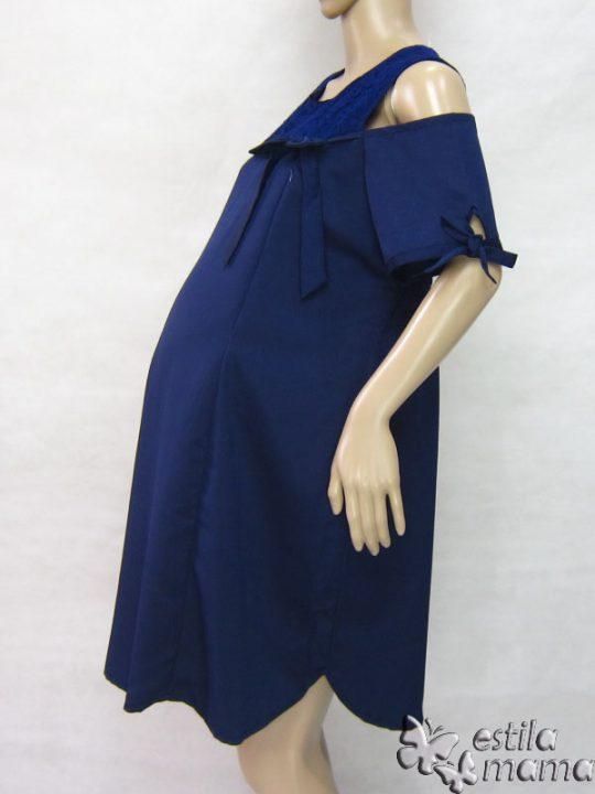 R34218 gb3 dress hamil menyusui lgn pdk biru tua