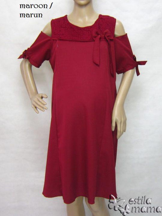 R34218 gb5 dress hamil menyusui lgn pdk marun