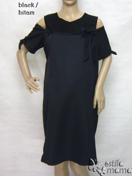 R34218 gb6 dress hamil menyusui lgn pdk hitam