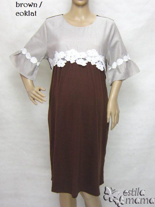 R34222 gb6 dress hamil menyusui lgn pdk coklat