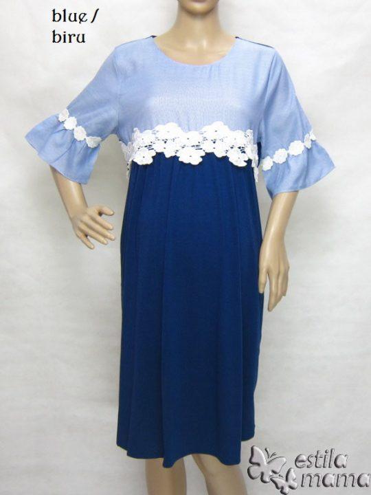 R34222 gb7 dress hamil menyusui lgn pdk biru