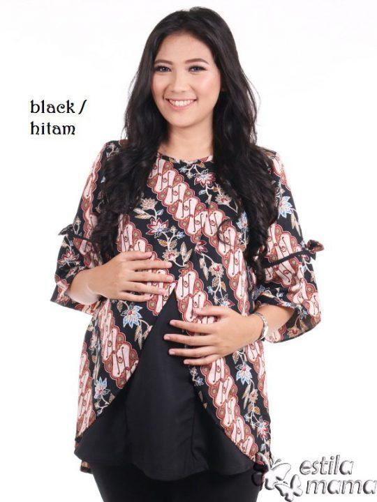 R24165 gb1b baju hamil menyusui lgn pdk batik hitam