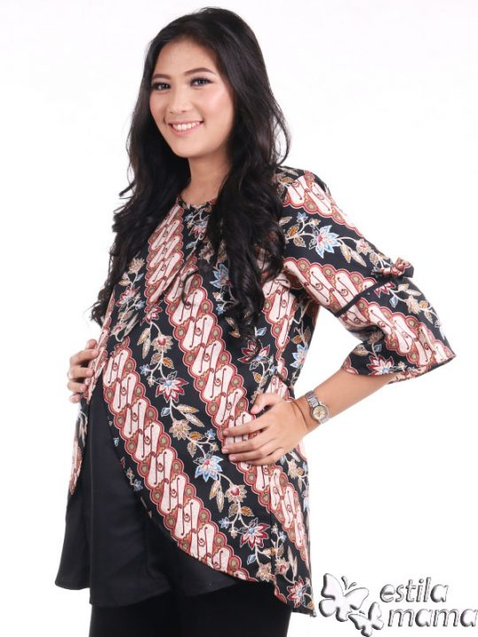 R24165 gb2 baju hamil menyusui lgn pdk batik hitam