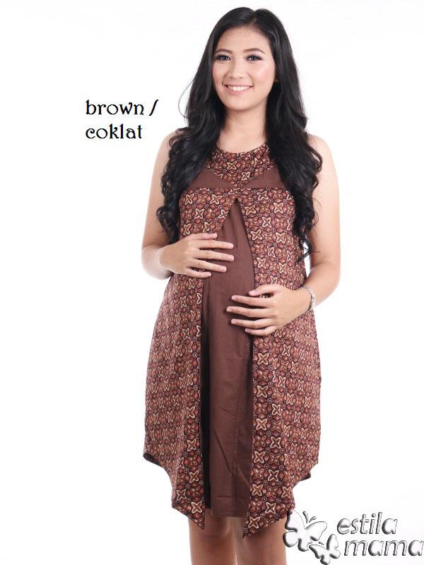 Bimala Dress Hamil Menyusui Pendek Midi Katun Batik Estila Mama