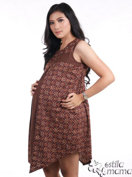 R3319 gb2 dress hamil menyusui tnp lgn coklat